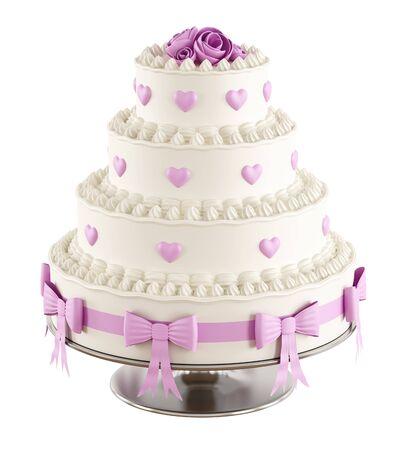 decoracion de pasteles: Pastel de boda con roseshearts rosa y arco aislado en blanco Representación 3D