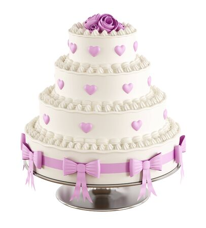 cake tier: Wedding cake with pink roseshearts and bow isolated on white  3D Rendering