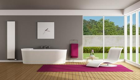 radiador: Baño moderno con bañera y chaise lounge - Rendering 3D