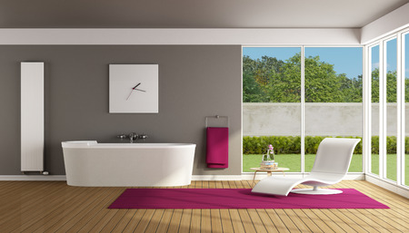 radiator: Contemporary bathroom with bathtub and chaise lounge - 3D Rendering