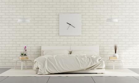 Минималистский белая спальня с двуспальной кроватью и кирпичной стеной - 3D рендеринг