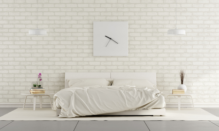 bedroom design: Minimalist white bedroom with double bed and brick wall - 3D Rendering Stock Photo