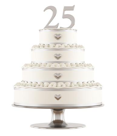 bodas de plata: Pastel de bodas de plata aislado en blanco - 3Drendering Foto de archivo