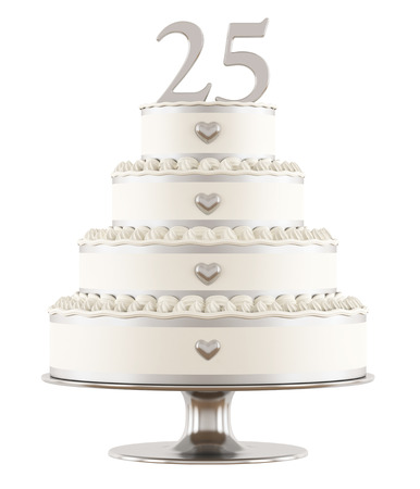 Silver wedding cake isolated on white - 3DRendering