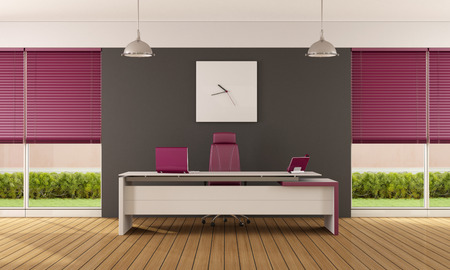 purple plants: Purple and gray modern office with minimalist desk - 3D Rendering