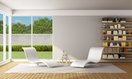minimalist apartment: Modern Living room with two white chaiselounge and wooden bookcase - 3D Rendering