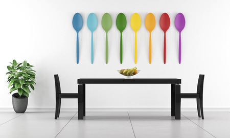 colorful: Minimalist dining room with black table and colorful tablespoons on wall - 3D Rendering