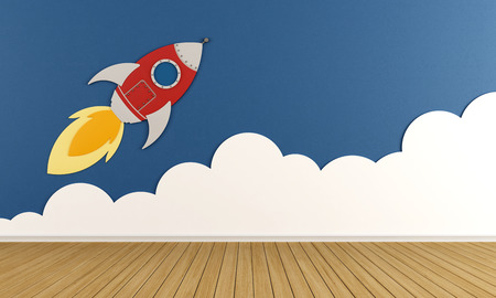 Playroom with rocket and cloud on blue wall  3D Rendering