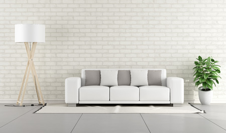 Minimalist lounge with white sofa and brick wall  3D Rendering