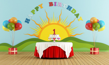 Birthday party with round table with cake and colorful decoration on wall  3D Rendering