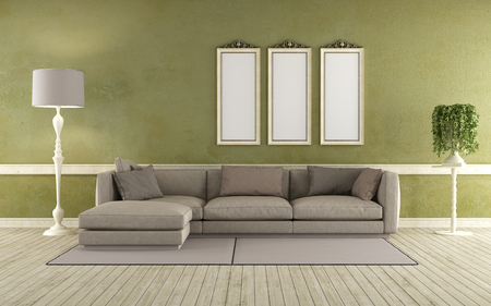classic living room: Modern sofa in a classic living room  3D Rendering