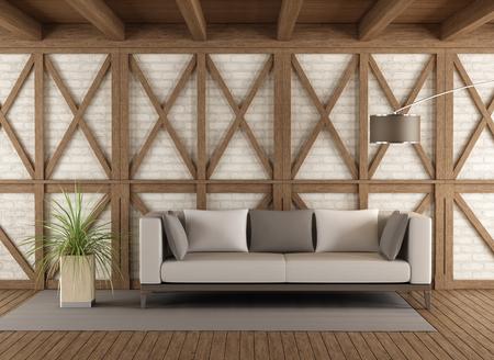 Divano moderno in una stanza d'epoca con struttura in legno e mattoni bianchi rendering 3D wall