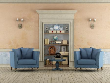 Vintage Room met klassieke stenen portal gebruikt als een boekenkast en twee lederen fauteuils 3D Rendering Stockfoto