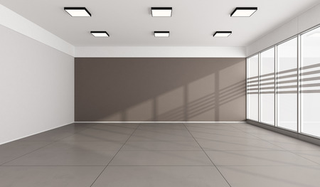 without windows: Large office with windows without furniture  3D Rendering