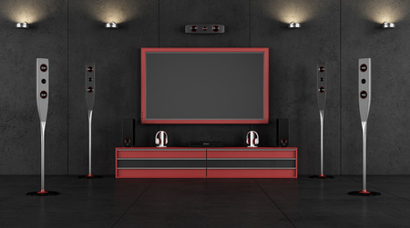 tv panel: Red and black cinema room without furniture 3D Rendering Stock Photo