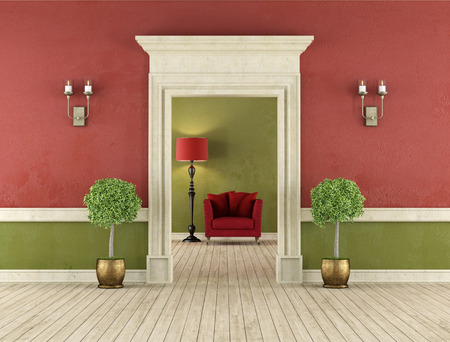 room wall: Retro room with stone portal and red armchair in the background  3D Rendering