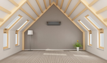 Modern attic without furniture and black air-conditioner on wall - 3D rendering 免版税图像
