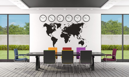 office wall: Black and white boardroom with colorful chairs and world map on wall - 3D Rendering Stock Photo