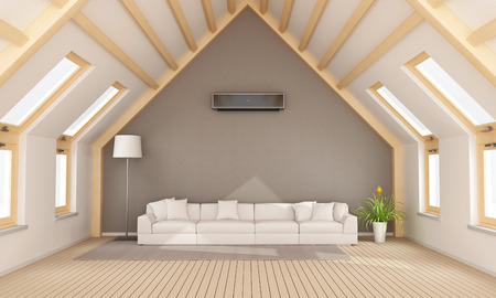 Attico moderno con divano e travi di legno bianco - Rendering 3D