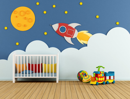 wall clouds: Baby room with cradle and decoration on wall - 3D Rendering Stock Photo