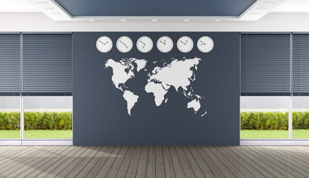 wooden clock: Empty blue boardroom with world map and clocks - 3D Rendering Stock Photo