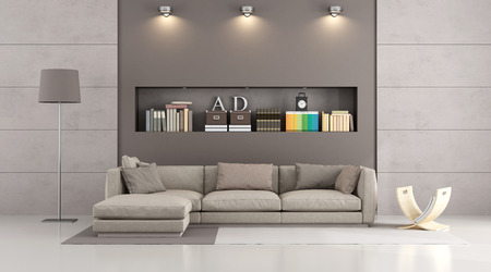 modern sofa in a contemporary livingroom with  niche, books and decor objects - 3D Rendering