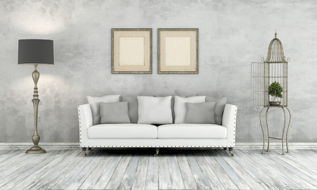 white sofa: Gray retro living room with classic sofa floor lamp and cage with bonsay - 3D Rendering