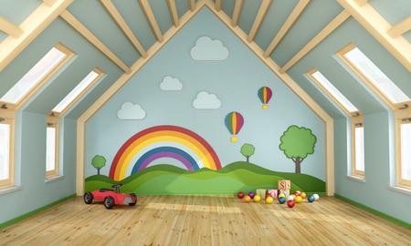 Salle de jeux dans le grenier avec des jouets et de la décoration sur le mur - Rendu 3D
