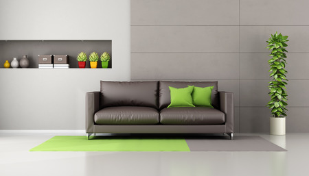 modern architecture: Brown sofa in a contemporary livingroom with  niche, books and decor objects - 3D Rendering