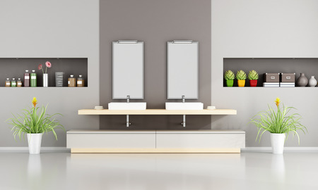 washbasins: Contemporary Bathroom with two washbasins and niche -3D Rendering Stock Photo