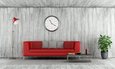 contemporary: Contemporary Red couch in old wooden room with floor lamp,big clock and coffee table - 3D Rendering