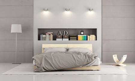 Doppelbett aus Holz in einem zeitgenössischen Schlafzimmer mit Nische, Bücher und Dekor Objekte - 3D-Rendering