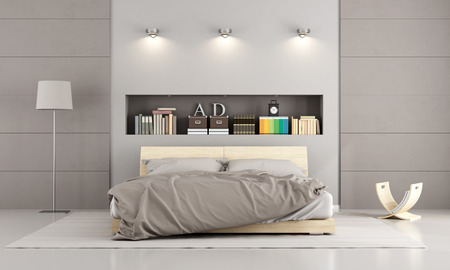 bedroom: Wooden double bed in a contemporary bedroom with  niche , books and decor objects - 3D Rendering Stock Photo