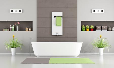 radiador: Cuarto de baño moderno con bañera blanca, calentador y el nicho-3D