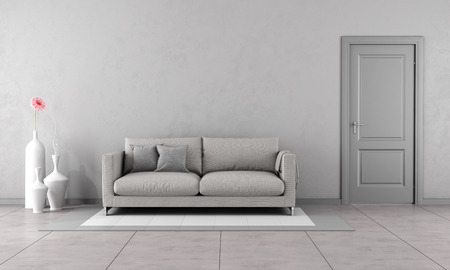 couch: Gray living room with modern couch and closed door-3D Rendering