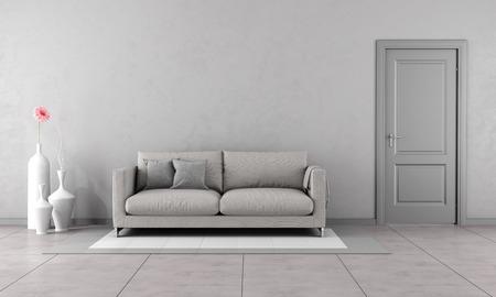 reloj de pared: Sala de estar con sof� moderno gris y cerrado la puerta-3D Rendering