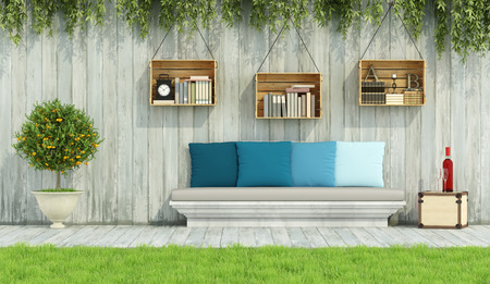 stone wall: Stone bench with colorful cushion,crate on wooden wall in a vintage garden - 3D Rendering