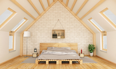 minimalist apartment: Bedroom in the attic with pallet bed and wooden crate on brick wall -3D Rendering