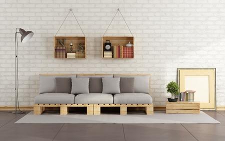 pallet: Salón con sofá-plataforma y caja de madera con los libros en la pared de ladrillo de estar - Representación 3D Foto de archivo