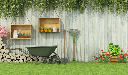 Tools for gardening in a garden with  old wooden fence-3d rendering
