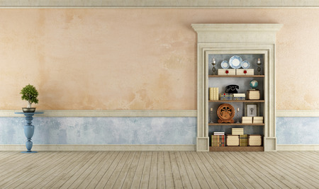 Vintage Room with classic stone portal used as a bookcase  - 3D Rendering Stock Photo