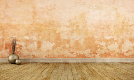 dirty room: Grunge empty room with old orange wall and dirty wooden floor - 3D Rendering