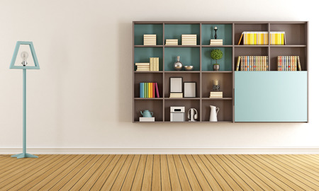 blue wall: Living room with modern bookcase