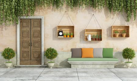 puertas antiguas: Casa de campo con puerta vieja, banco de piedra, colorido cojín - Representación 3D Foto de archivo