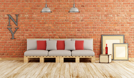 pallets: Living room with pallet sofa on old wooden floor and brick wall - 3D Rendering Stock Photo