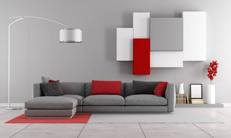 Contemporary lounge with gray sofa and wall unit on background - 3D Rendering