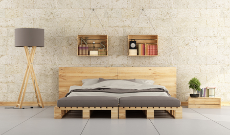 Modern bedroom with bed pallet on brick wall