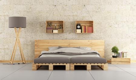 Moderne slaapkamer met bed pallet op bakstenen muur