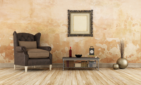 dirty room: Retro room with leather armchair on old wooden floor - 3D Rendering