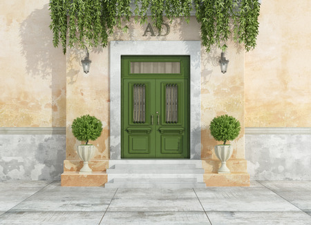Entrance of a country house with green classic front door - 3D Rendering